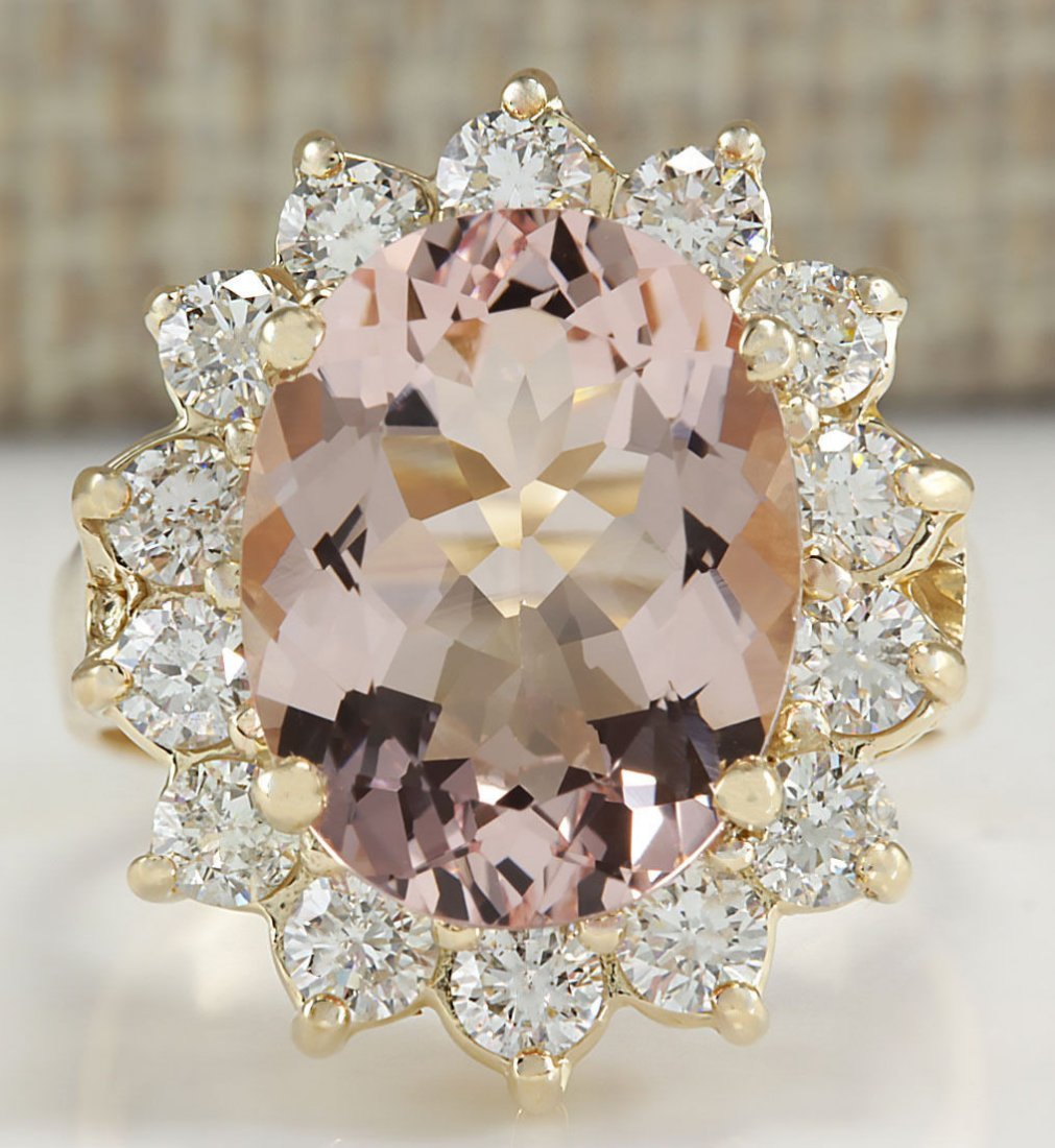 6.08CTW Natural Morganite And Diamond Ring In 14K Solid