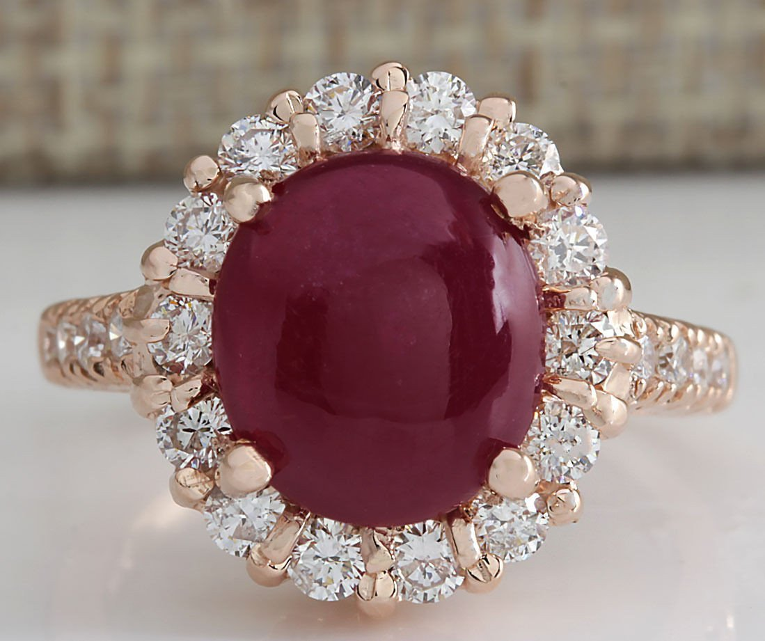 5.42CTW Natural Ruby Cabochon And Diamond Ring 14K