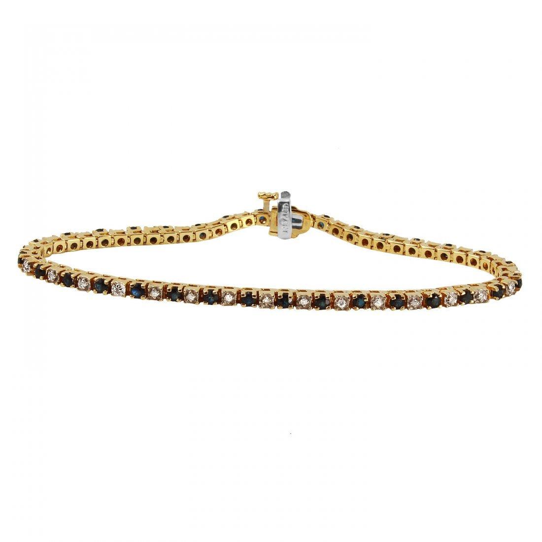Ladies 1.76CTW Sapphire And Diamond 14K Yellow Gold