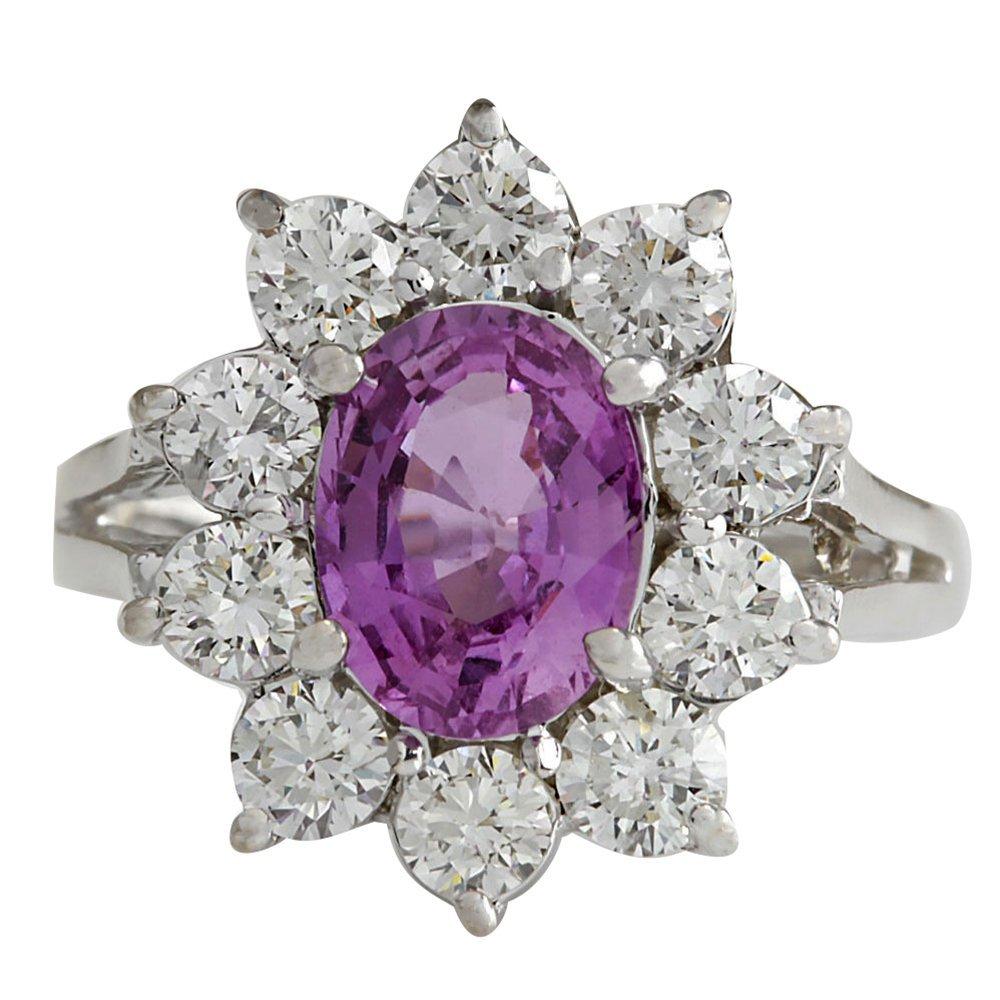 2.77CTW Natural Pink Ceylon Sapphire Diamond Ring 14K