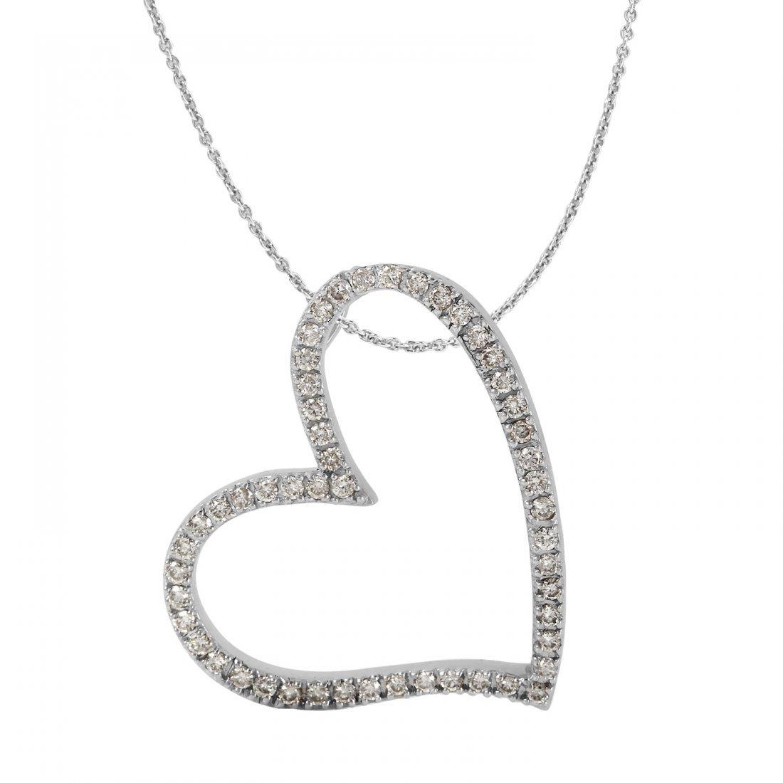 Ladies 2.08CTW Diamond 14K White Gold Necklace
