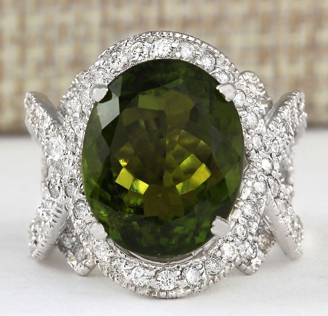 12.80 CTW Natural Green Tourmaline And Diamond Ring 14k