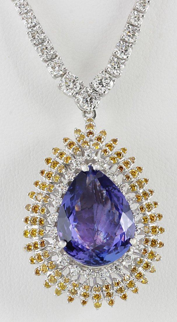 25.48 CTW Natural Tanzanite And Diamond Necklace 14k