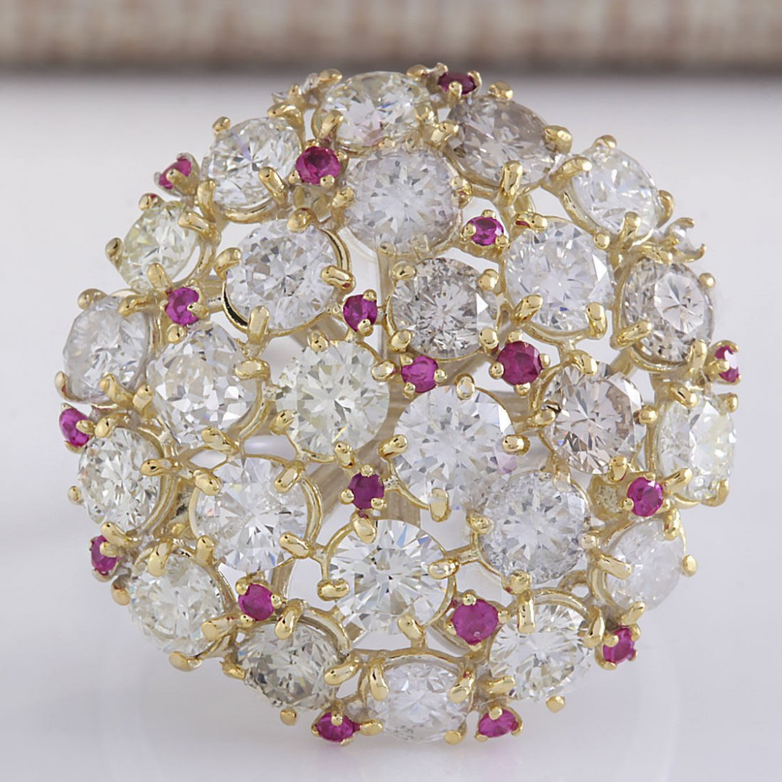 5.42 CTW Natural Red Ruby Diamond Ring 14k Solid White