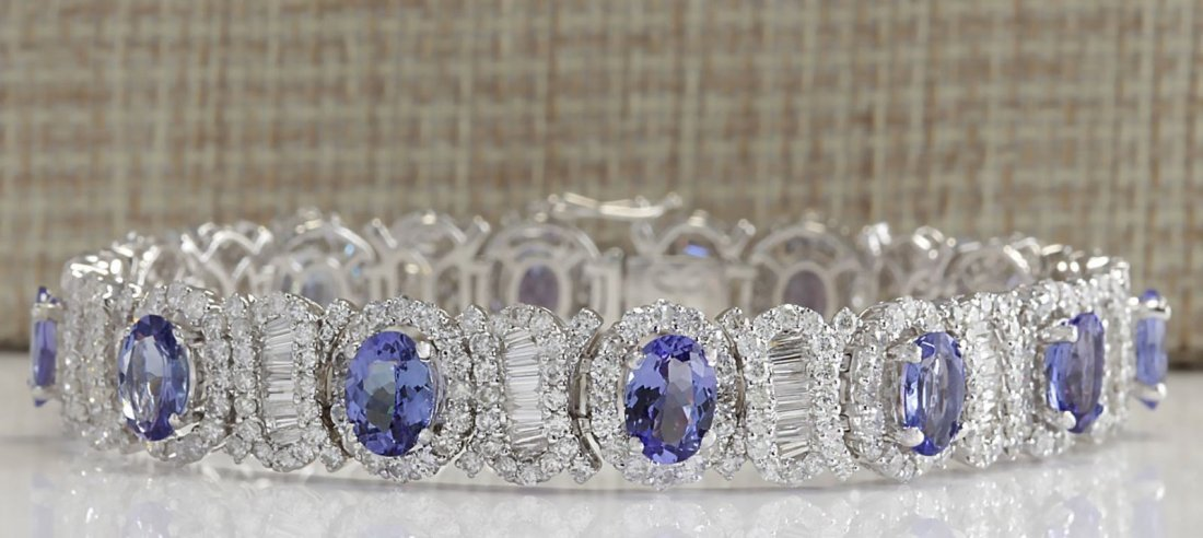 24.70 CTW Natural Tanzanite And Diamond Bracelet In 14K