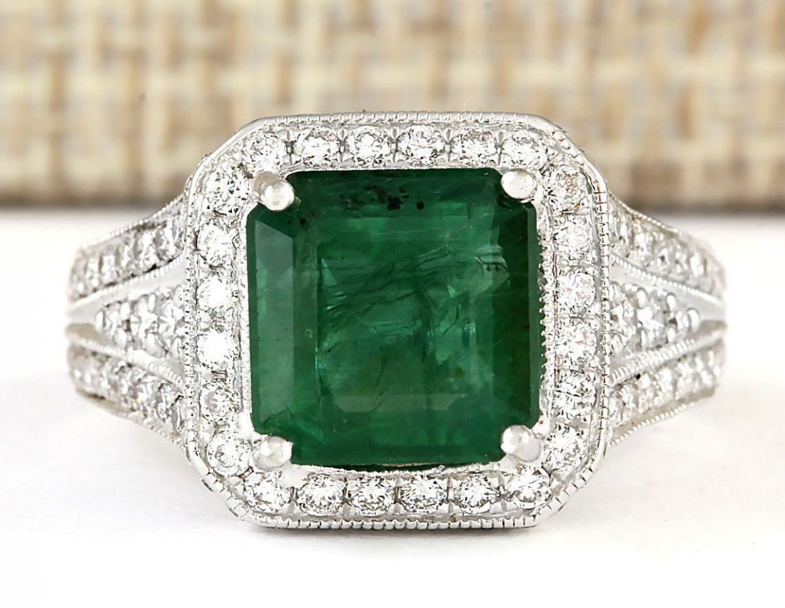 4.88 CTW Natural Emerald And Diamond Ring In 14k White