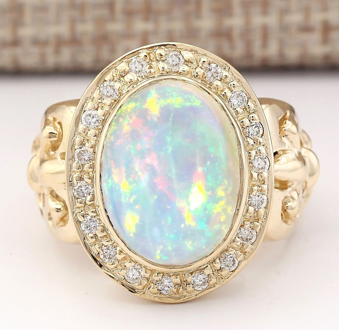 6.40 CTW Natural Opal And Diamond Ring In 14k Yellow