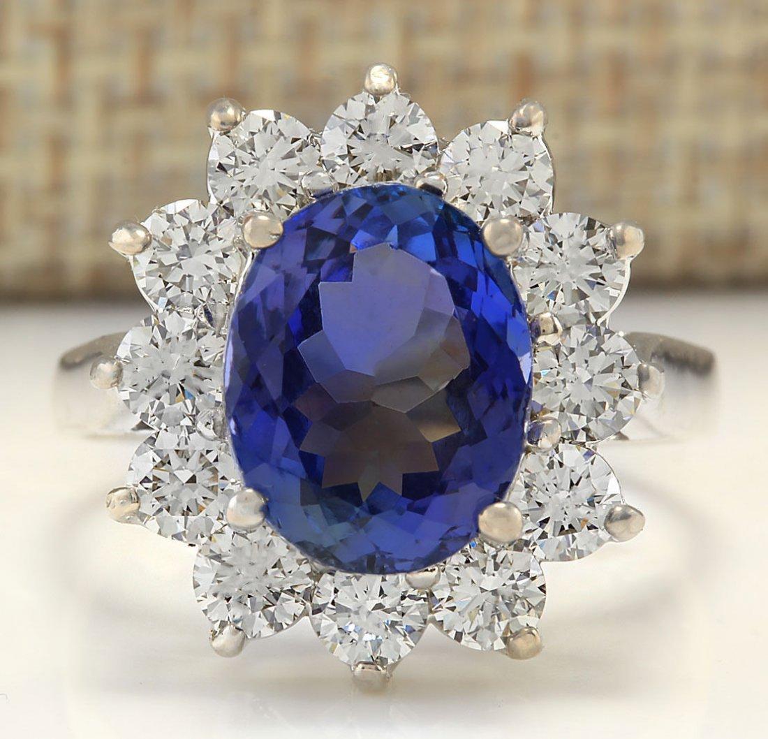 5.44CTW Natural Tanzanite And Diamond Ring In 14K White