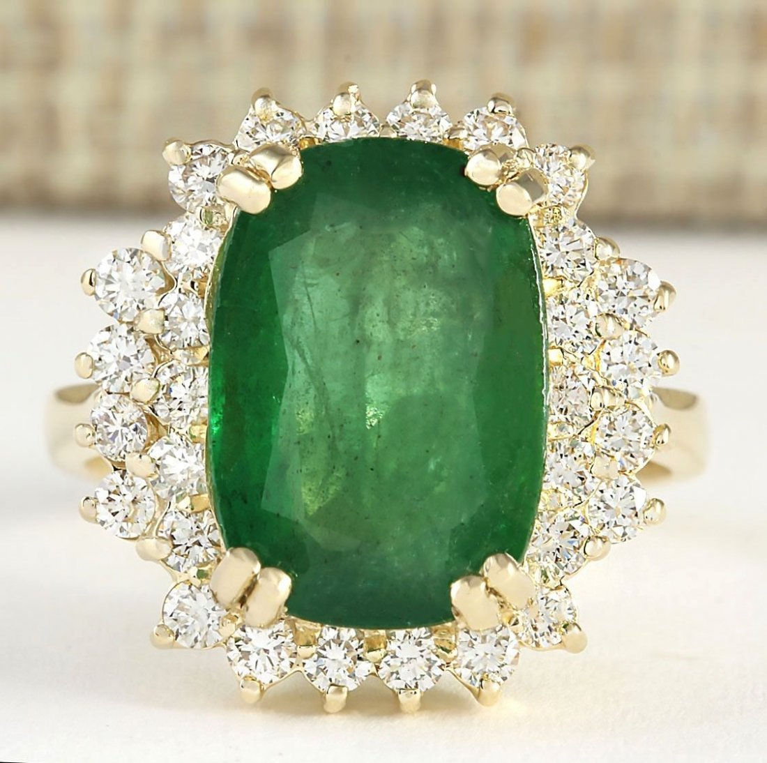 6.69 CTW Natural Emerald And Diamond Ring In 14k Yellow