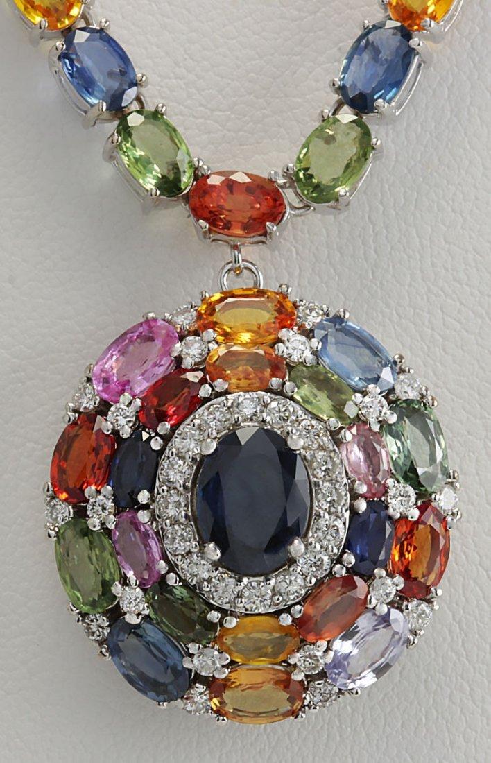 46.99CTW Natural Ceylon Sapphire And Diamond Necklace