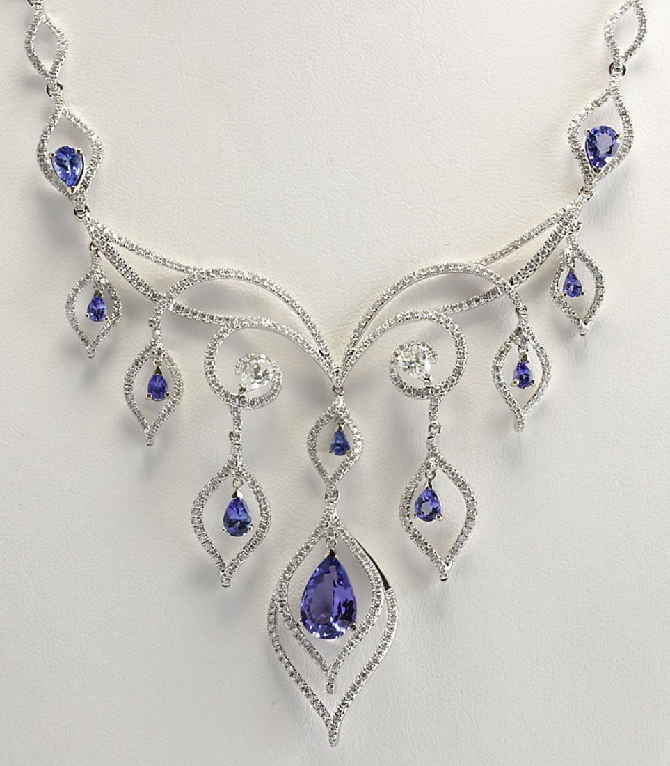 13.80CTW Natural Tanzanite And Diamond Necklace In 14K