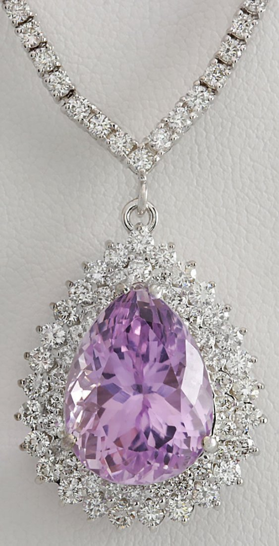 18.27CTW Natural Kunzite And Diamond Necklace In 14K