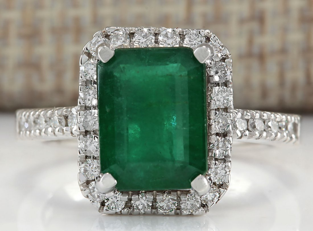 3.61CTW Natural Emerald And Diamond Ring In 14K White