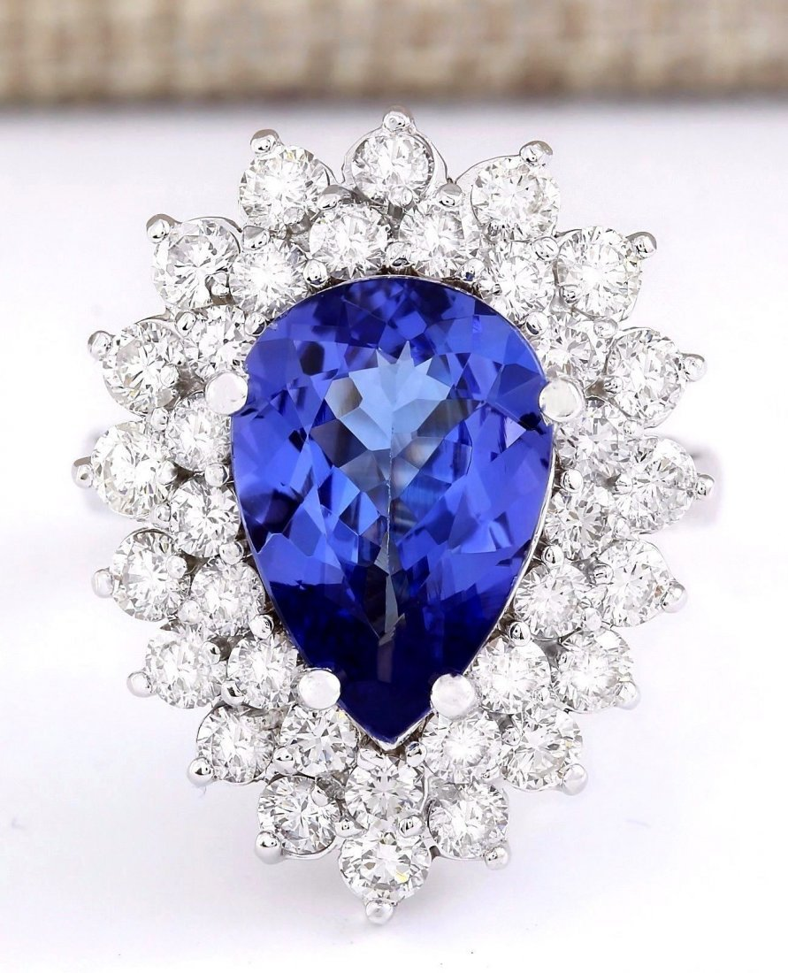 6.21 CTW Natural Blue Tanzanite And Diamond Ring 14k