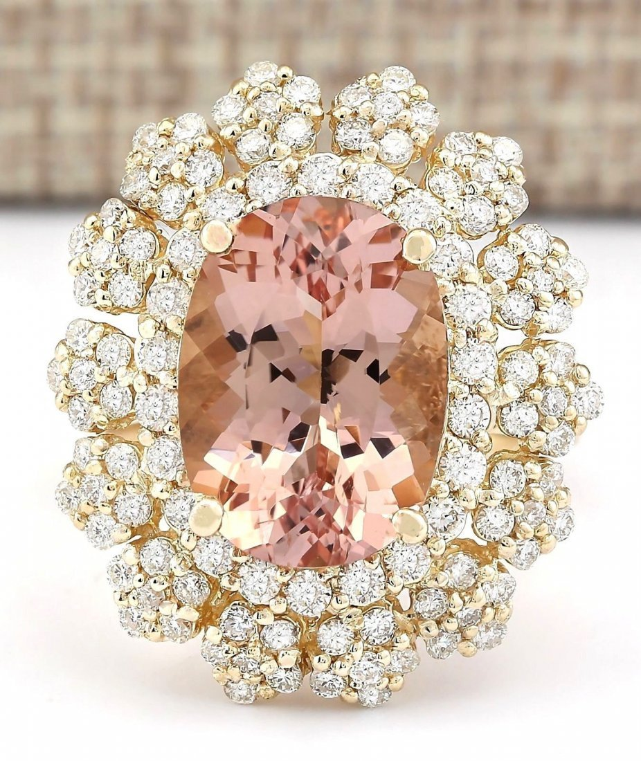 7.51 CTW Natural Morganite And Diamond Ring In 14k