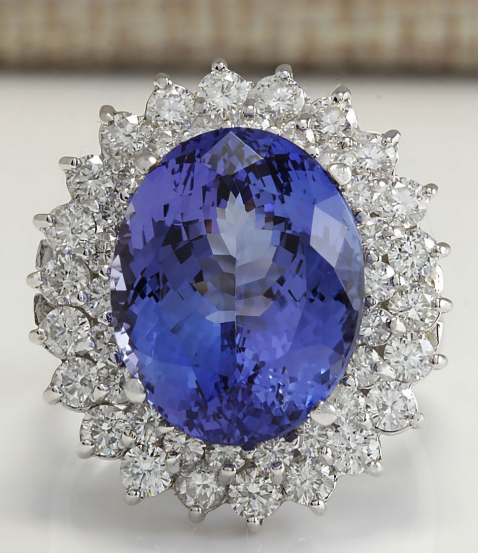 11.11CTW Natural Tanzanite And Diamond Ring 14K Solid