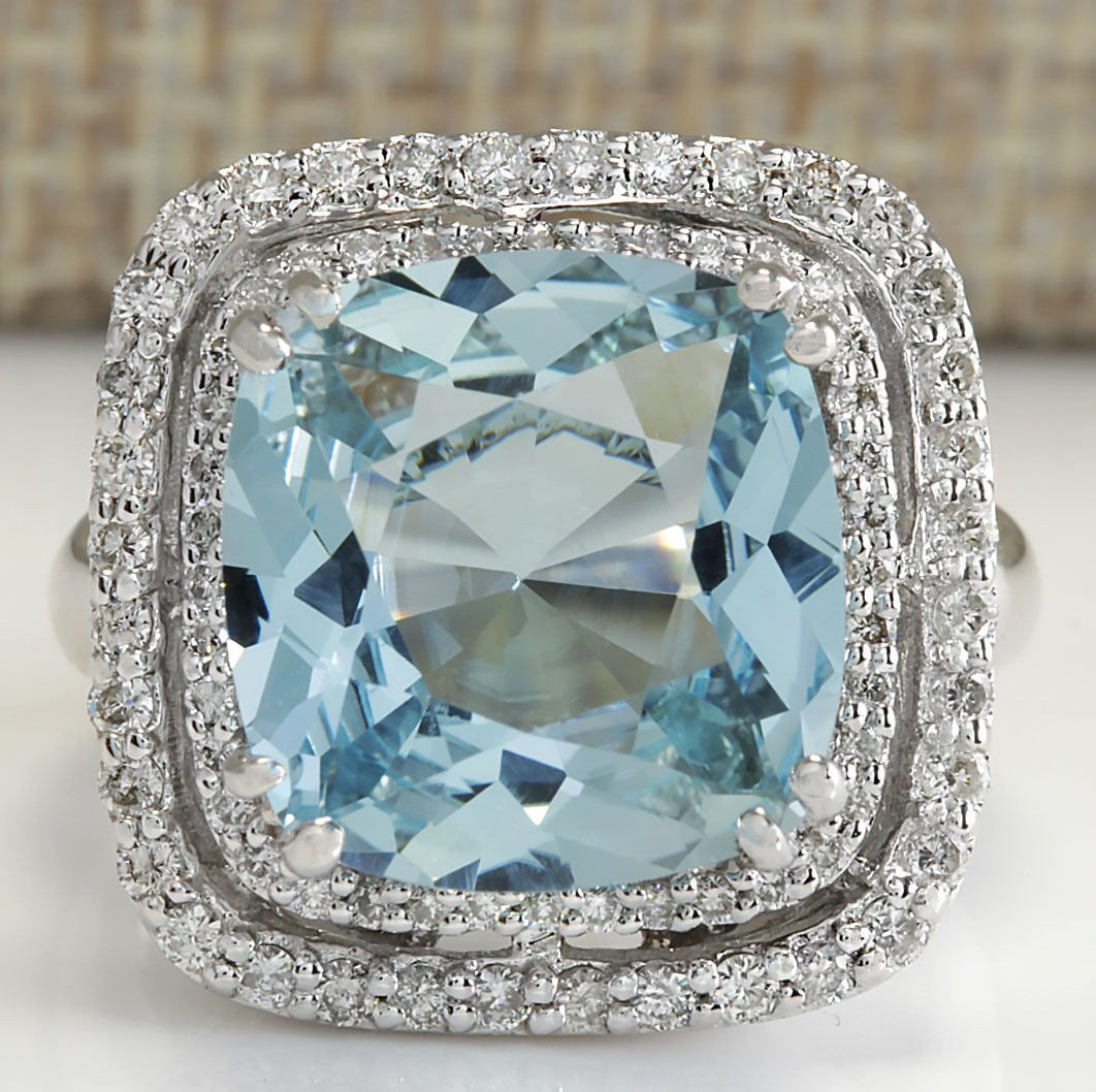 6.92CTW Natural Aquamarine And Diamond Ring In 14K