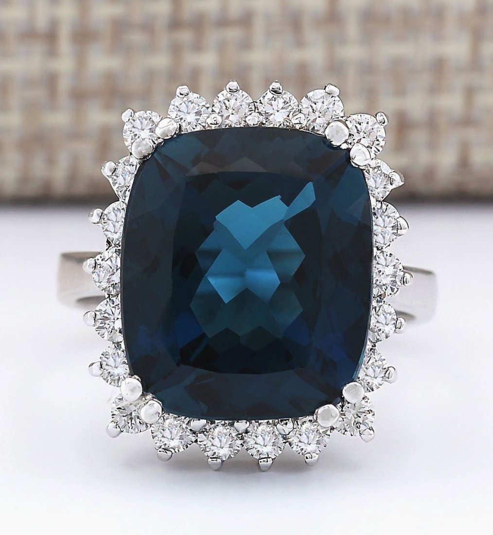 11.07 CTW Natural London Blue Topaz And Diamond Ring