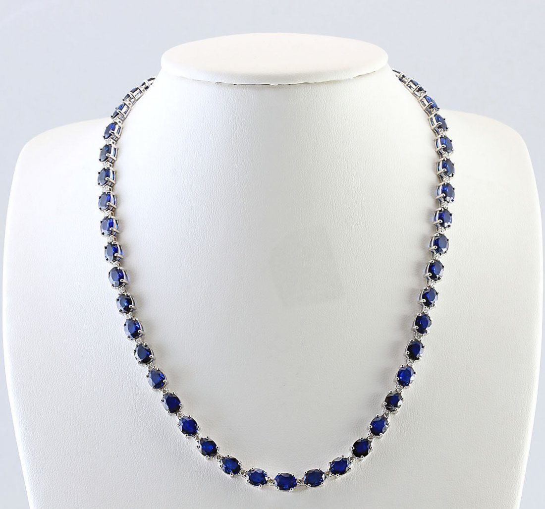 34.98 CTW Natural Sapphire And Diamond Necklace In 14k
