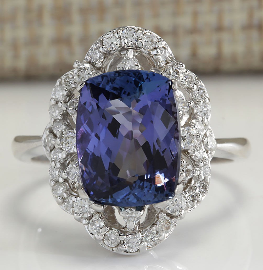 4.75CTW Natural Blue Tanzanite And Diamond Ring 14K