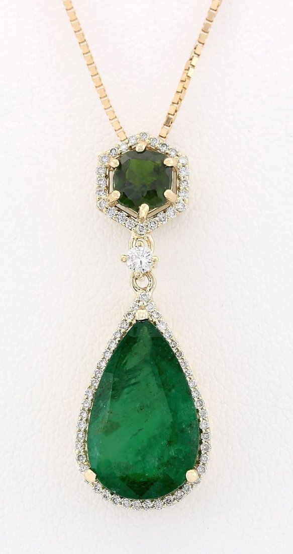 10.00 CTW Natural Emerald And Diamond Pendant In 14k