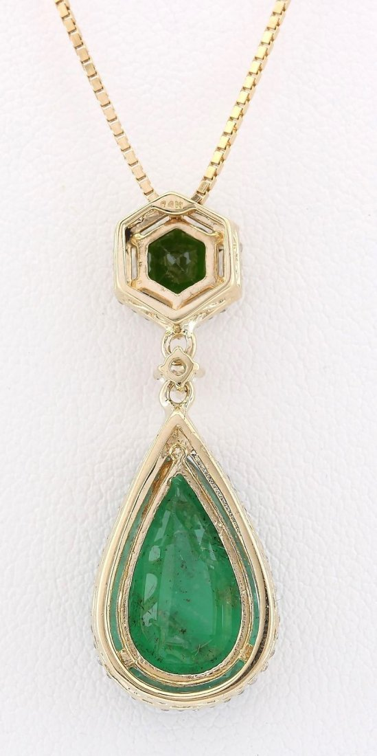 10.00 CTW Natural Emerald And Diamond Pendant In 14k - 2