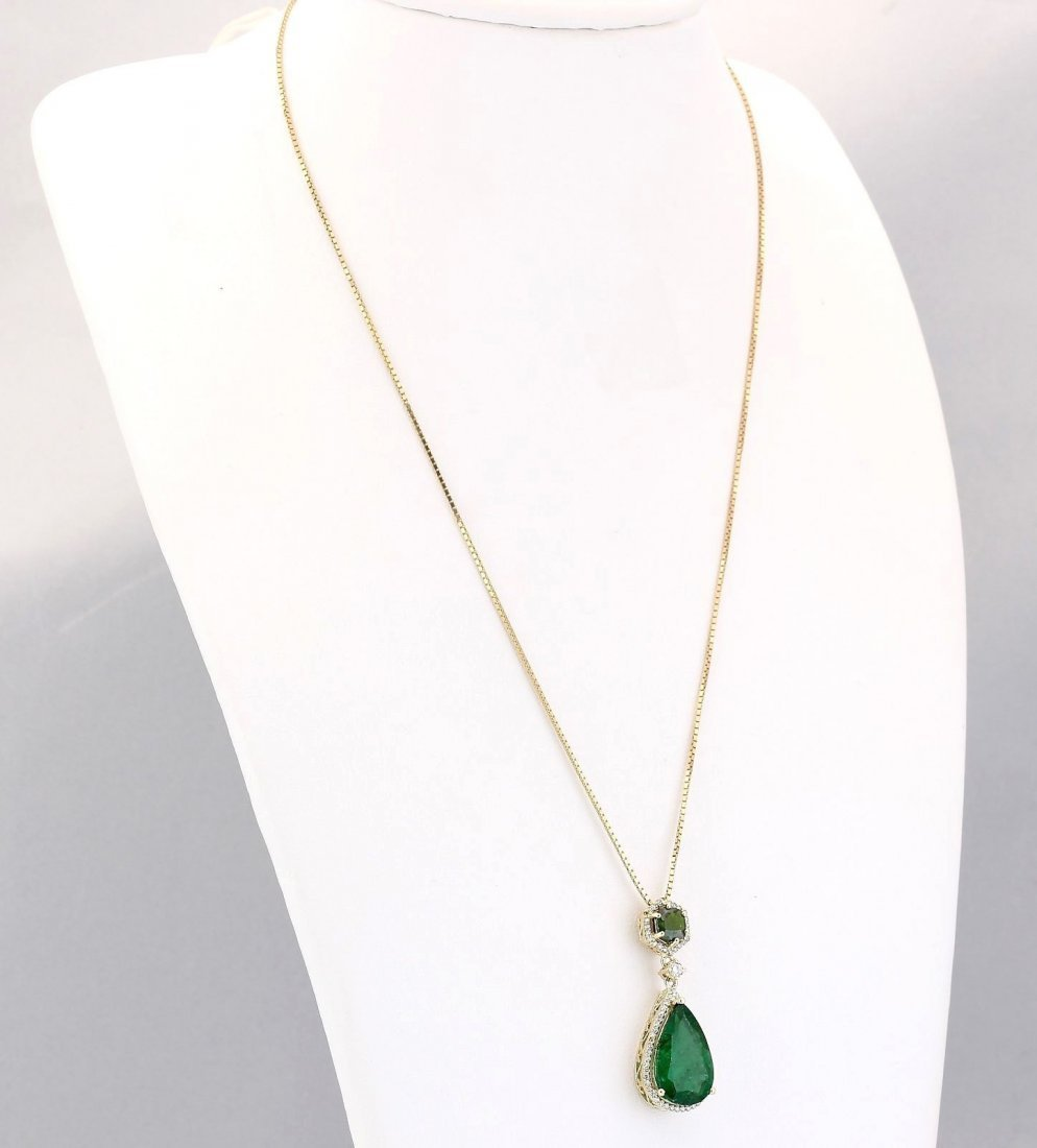 10.00 CTW Natural Emerald And Diamond Pendant In 14k - 3