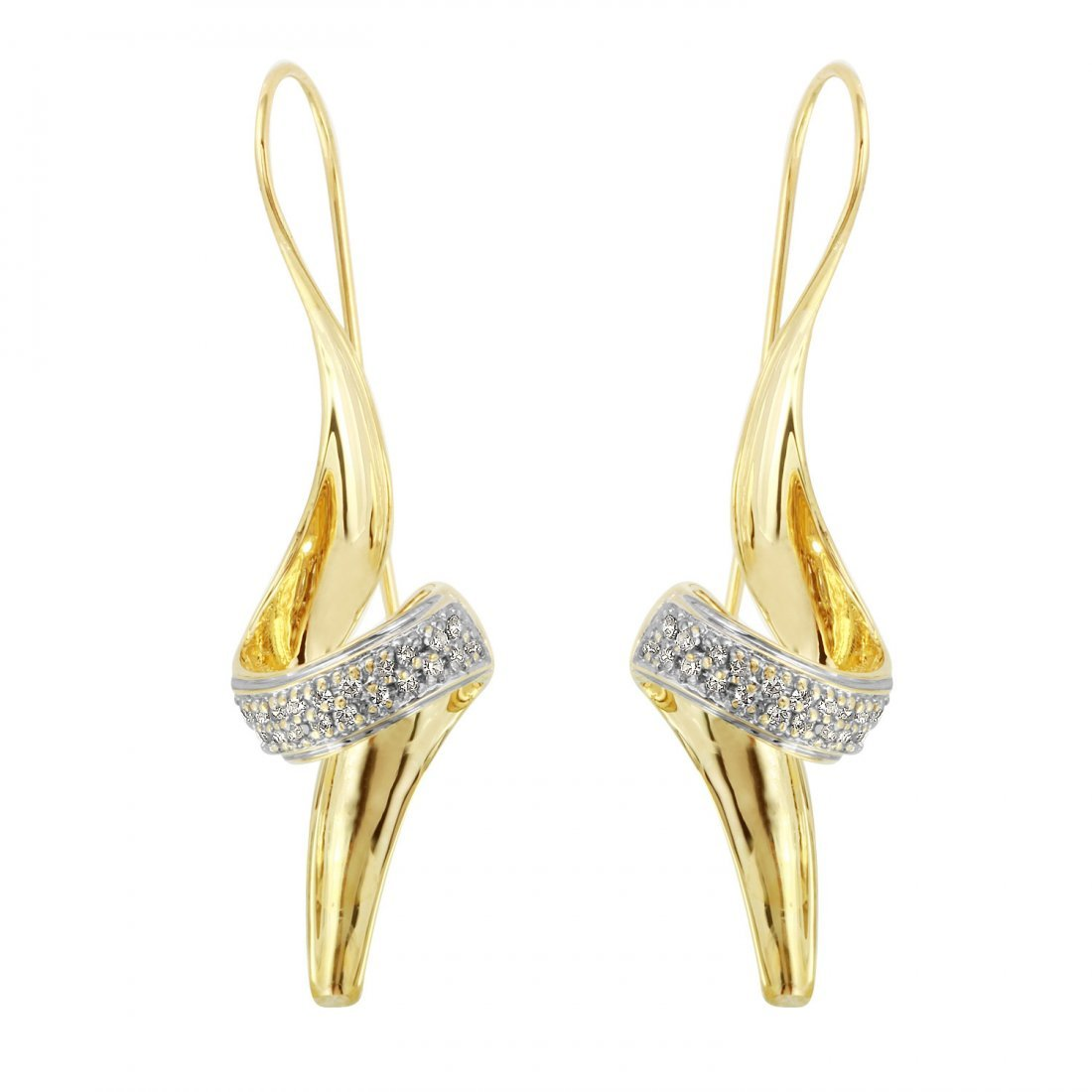 Ladies 0.3CTW Diamond 14K Yellow Gold Earrings