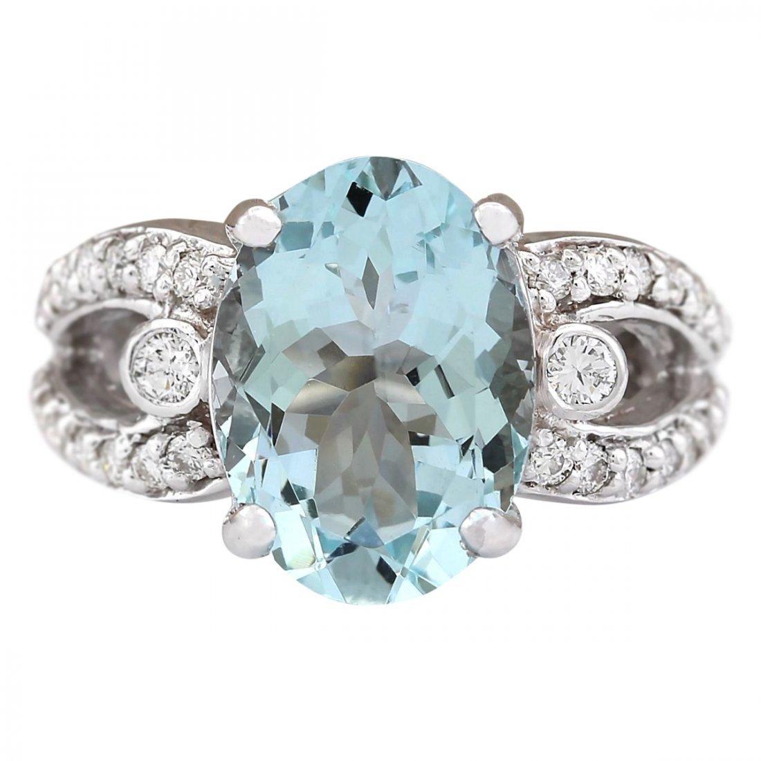 6.02 CTW Natural Aquamarine And Diamond Ring In 14k