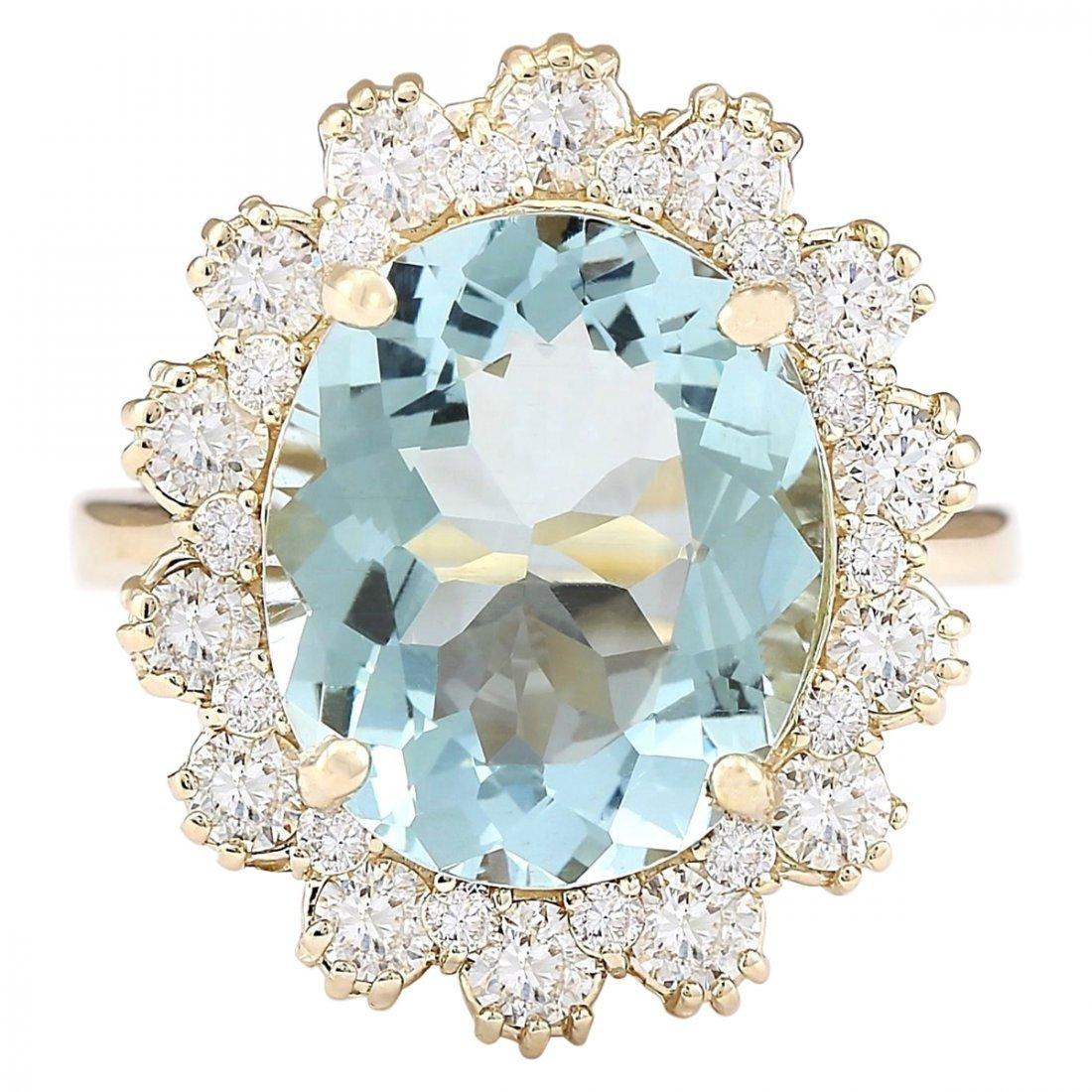 6.73 CTW Natural Blue Aquamarine And Diamond Ring In