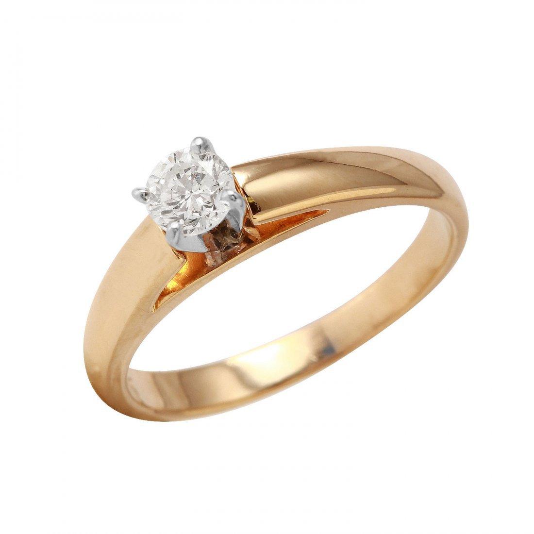 Ladies 0.31CTW Diamond 14K Yellow Gold Ring