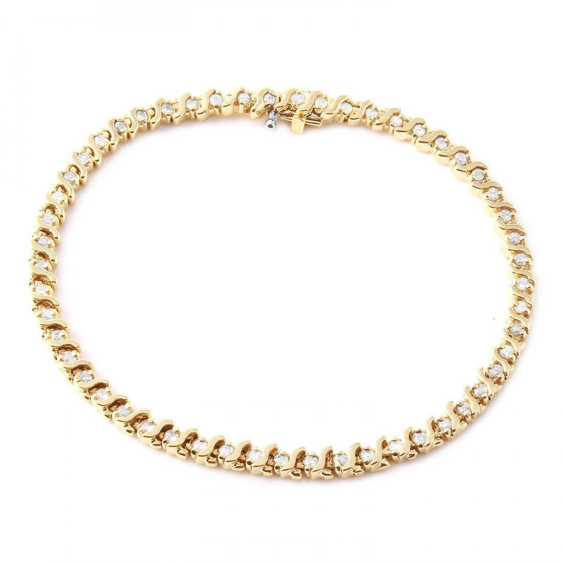 Ladies 1.35CTW Diamond 14K Yellow Gold Bracelet