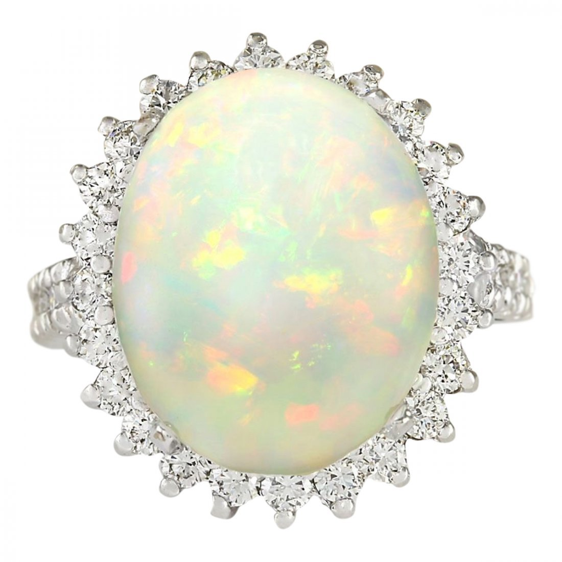 9.29 CTW Natural Opal And Diamond Ring In14k White Gold