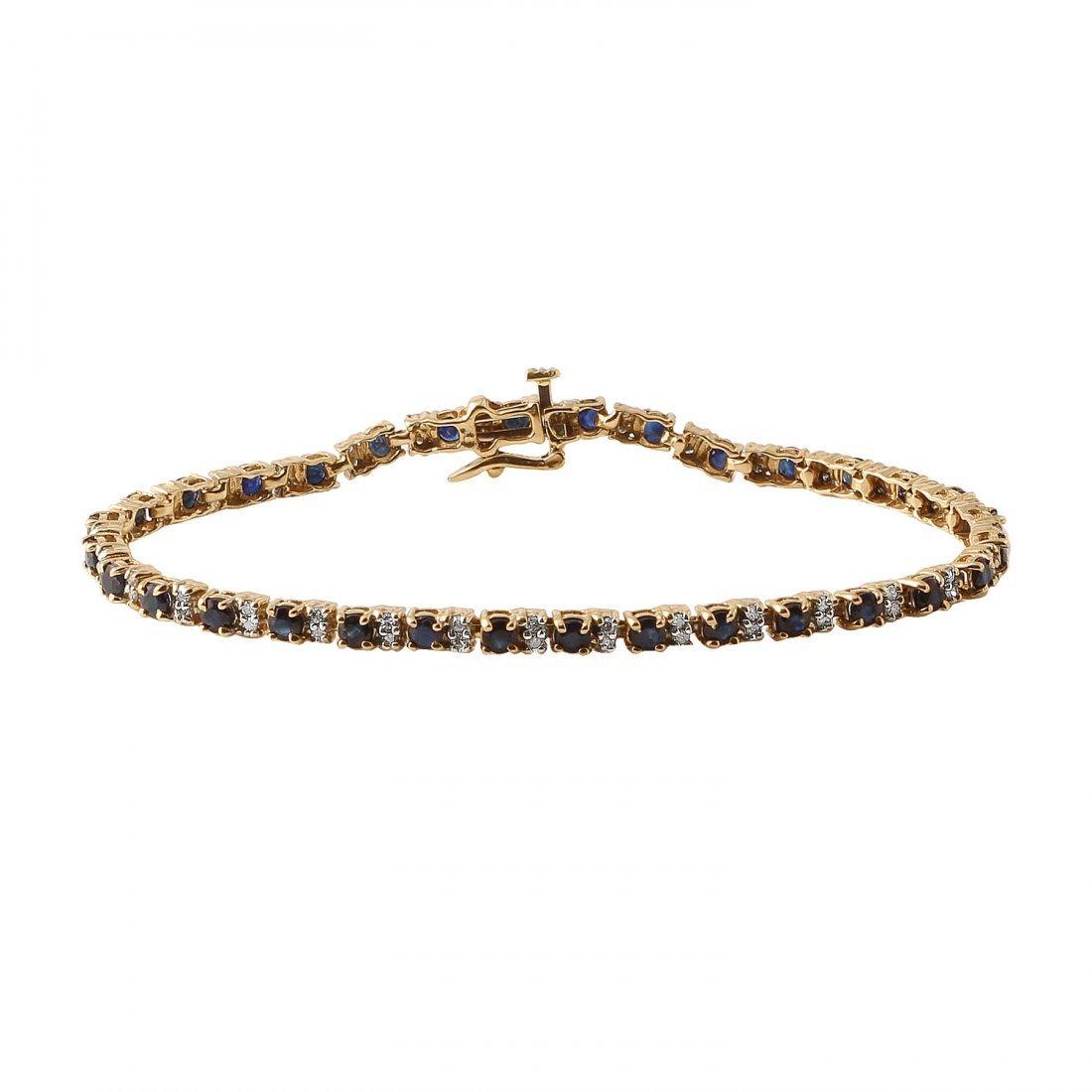 Ladies 4.16CTW Sapphire And Diamond 14K Yellow Gold