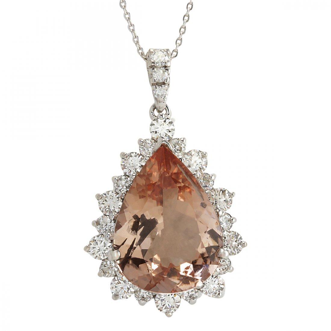 13.42 CTW Natural Morganite And Diamond Pendant In 14K
