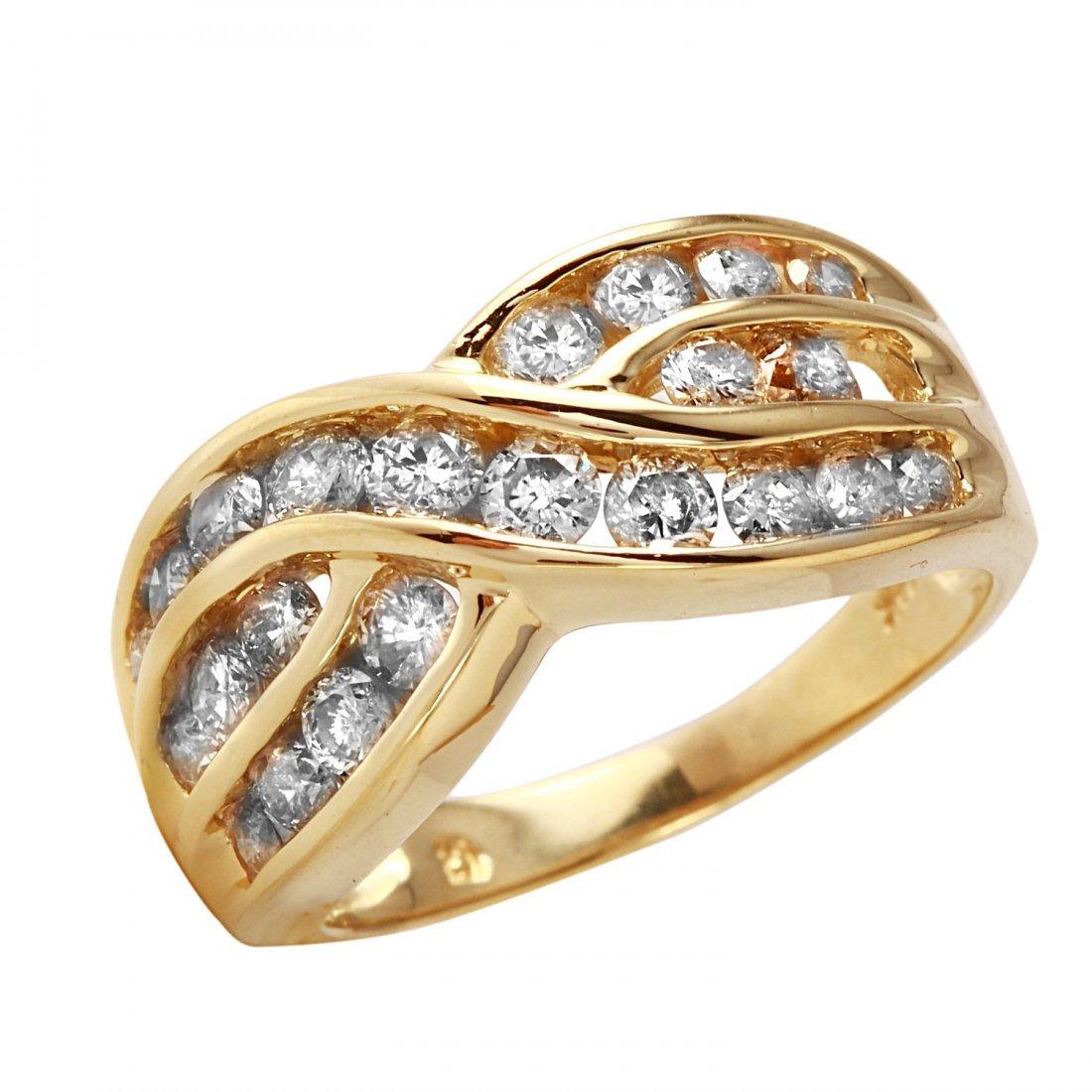 Ladies 1.62CTW Diamond 14K Yellow Gold Ring