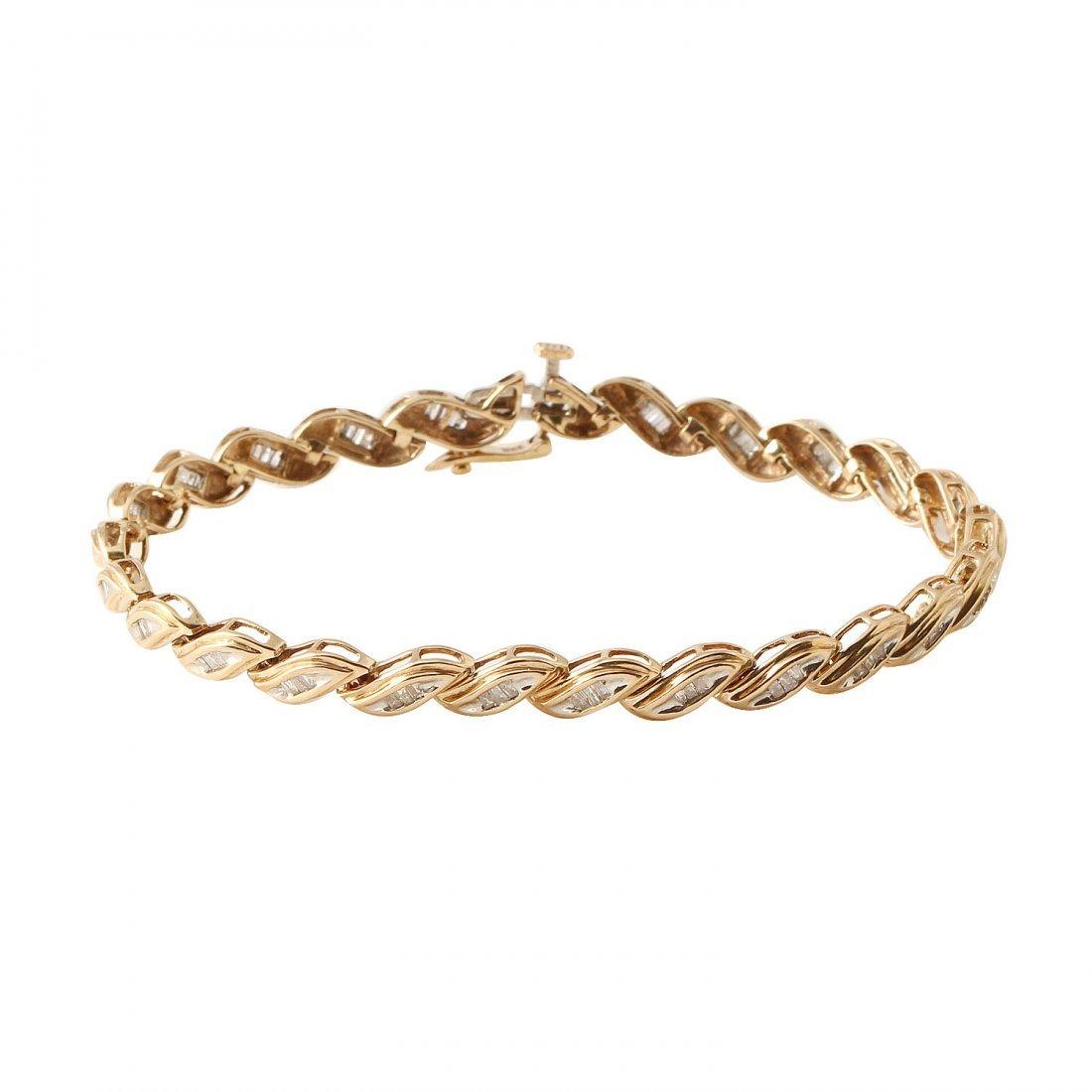 Ladies 0.75CTW Diamond 10k Yellow Gold Bracelet