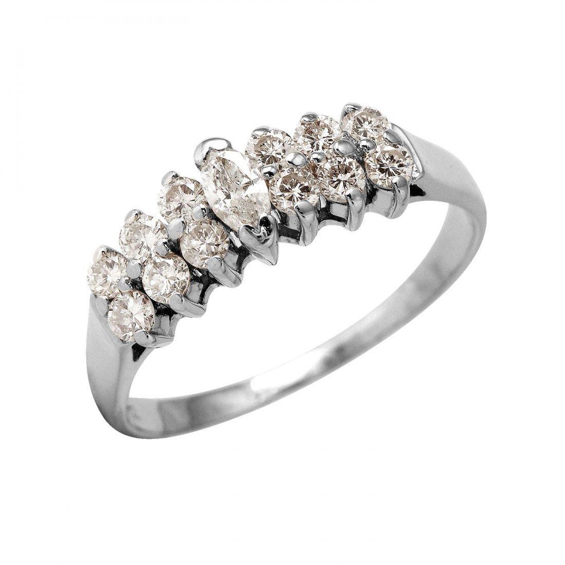 Ladies 0.77CTW Diamond 14K White Gold Ring