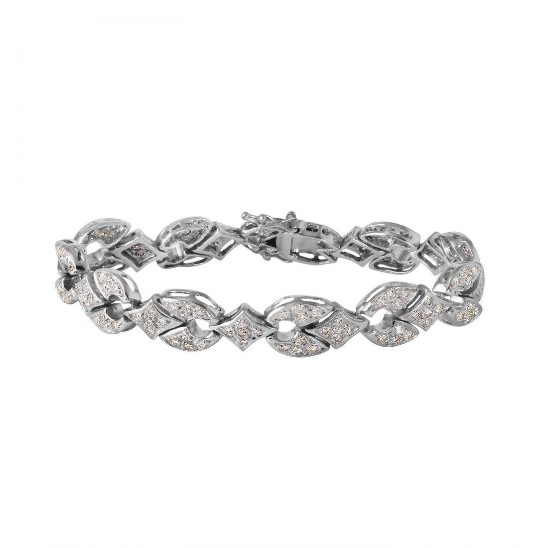 Ladies 5CTW Diamond 14K White Gold Bracelet