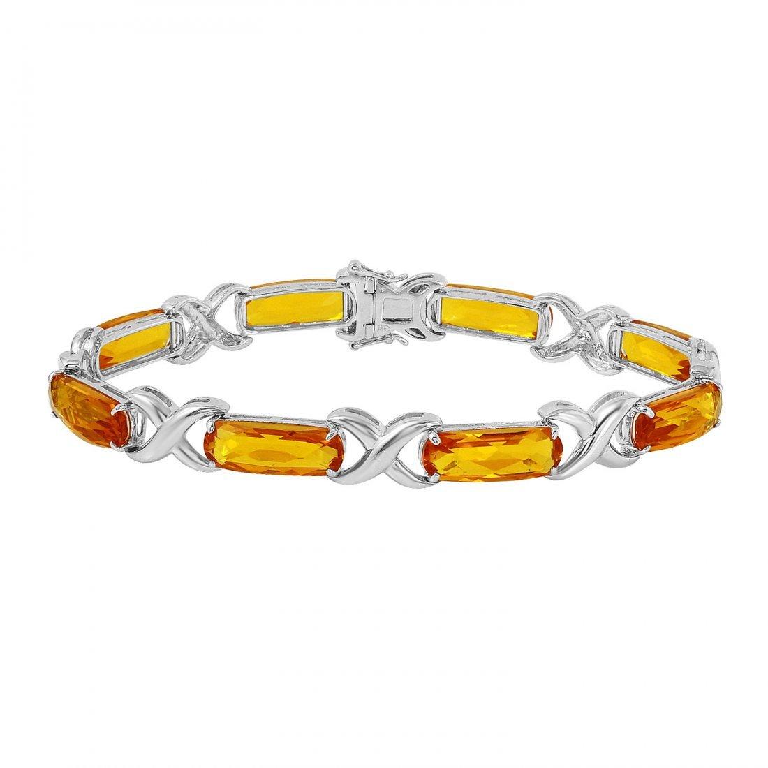 Ladies 27.1CTW Citrine 14K White Gold Bracelet
