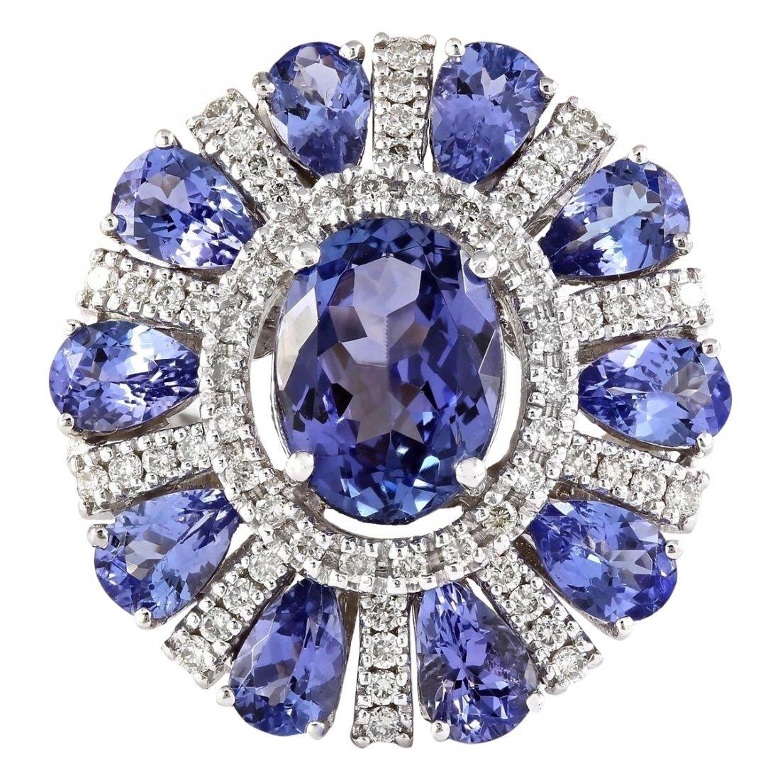 8.41 CTW Natural Tanzanite And Diamond Ring In 14k