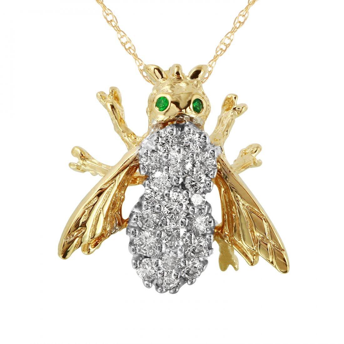 Ladies 0.77CTW Diamond And Emerald 14K Yellow Gold