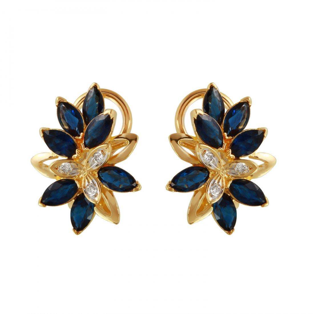 Ladies 3.6CTW Sapphire And Diamond 18k Yellow Gold
