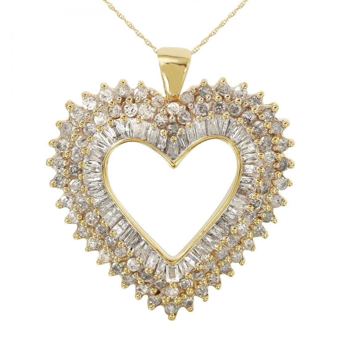 Ladies 1.23CTW Diamond 10k Yellow Gold Necklace