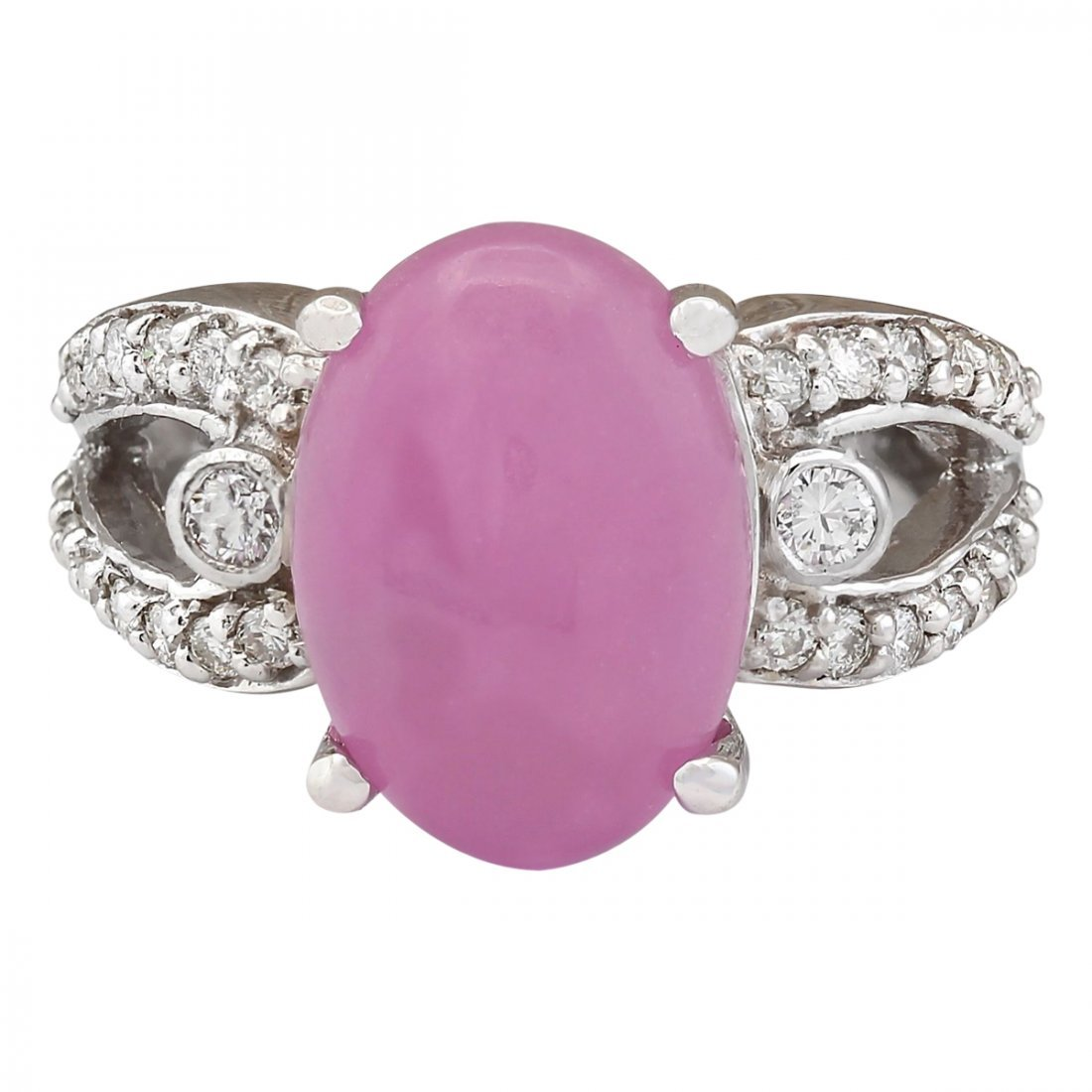 7.25 CTW Natural Pink Jade And Diamond Ring In 14k