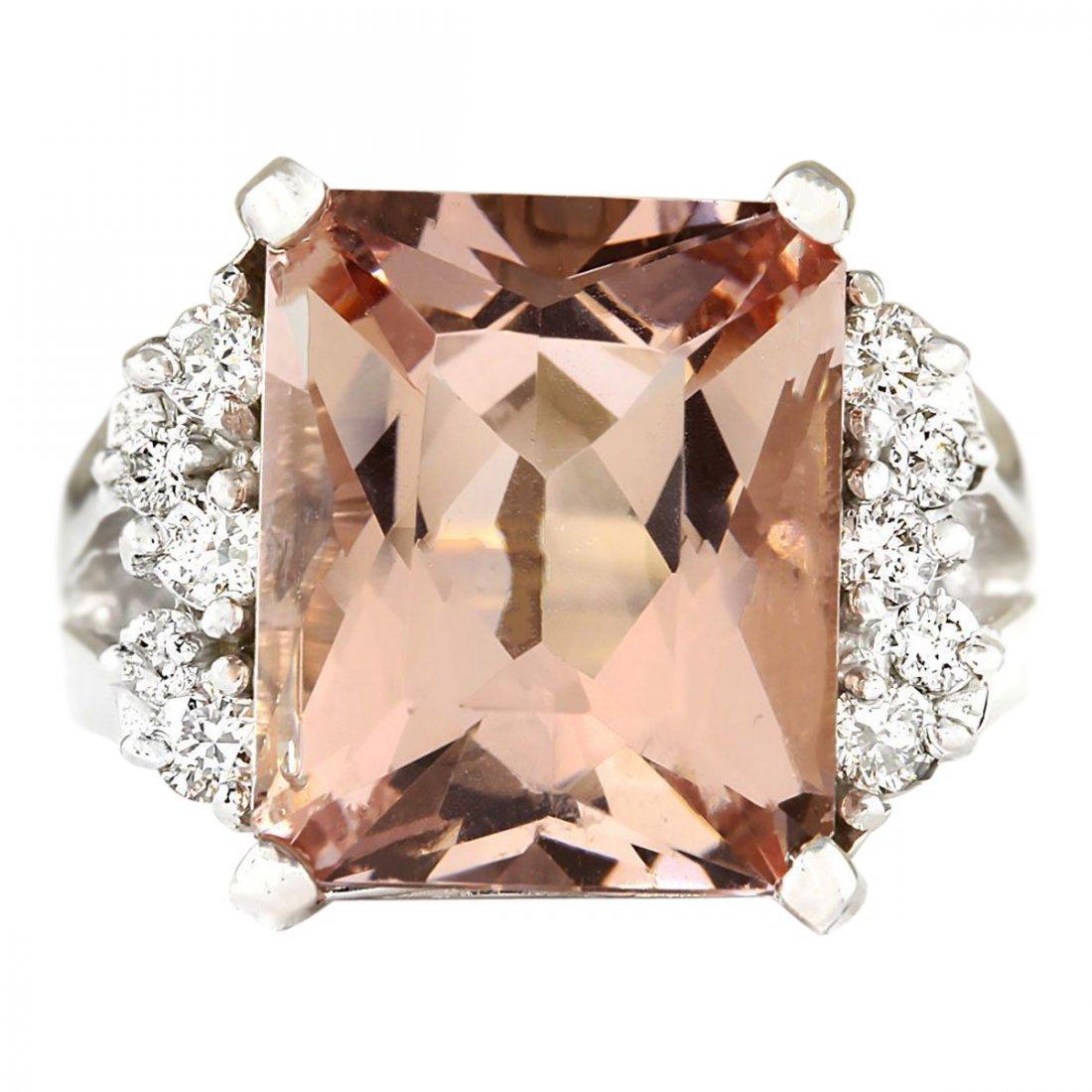 7.292 CTW Natural Morganite And Diamond Ring 14k Solid