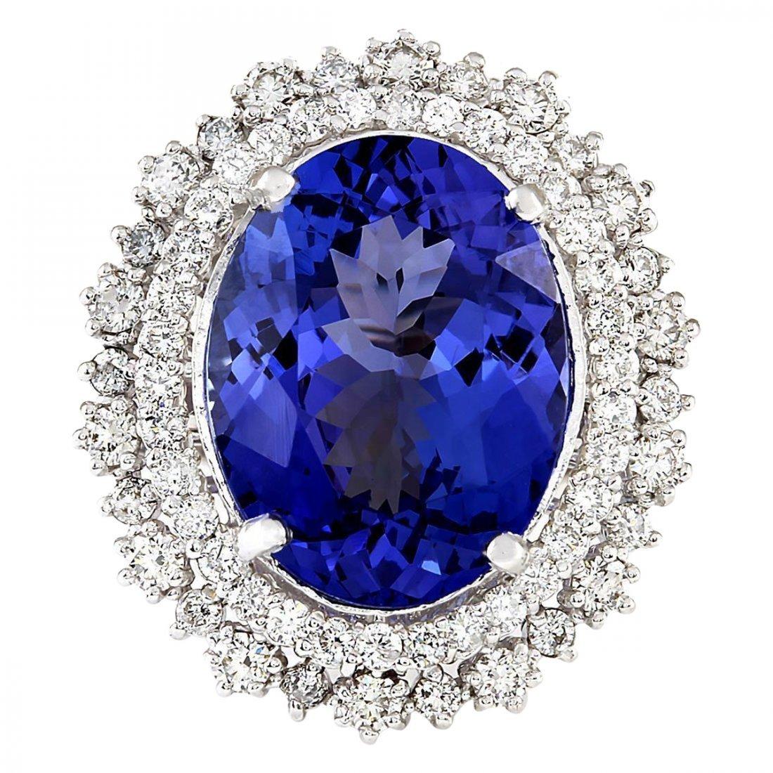 13.75 CTW Natural Blue Tanzanite And Diamond Ring 14k