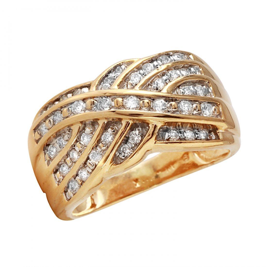 Ladies 0.74CTW Diamond 14K Yellow Gold Ring