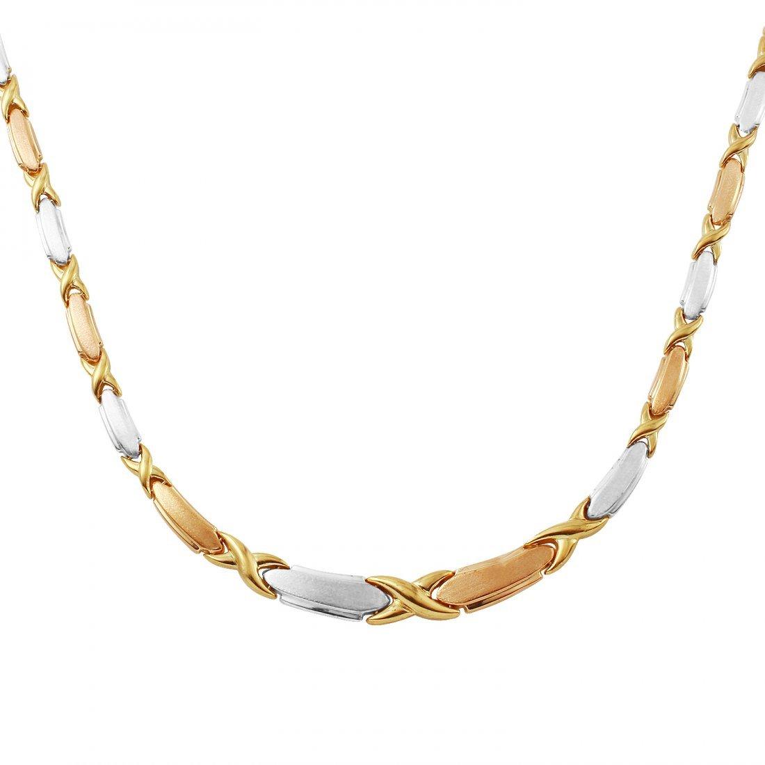 Ladies 14K Three tone Gold Necklace