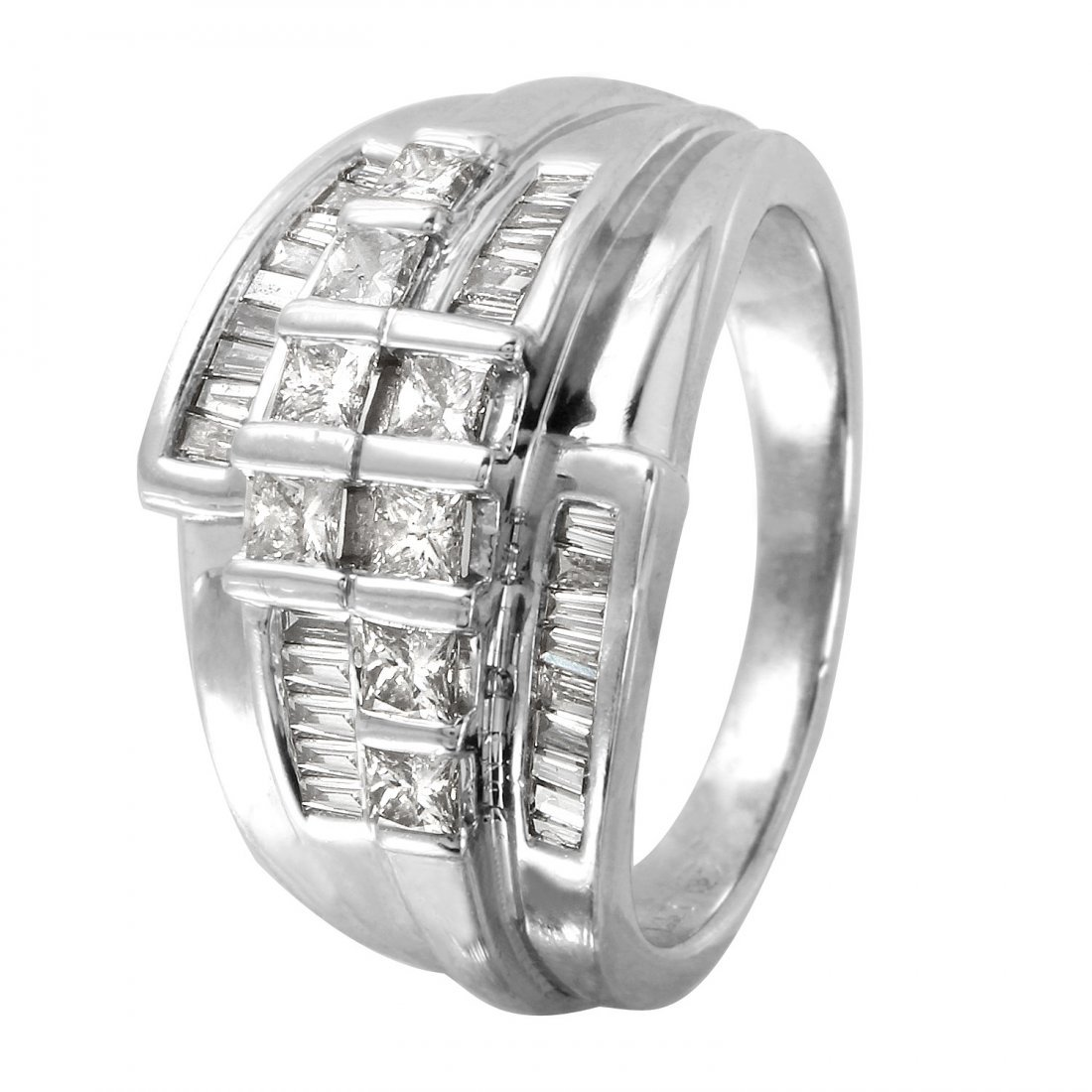 Ladies 1.22CTW Diamond 14K White Gold Ring